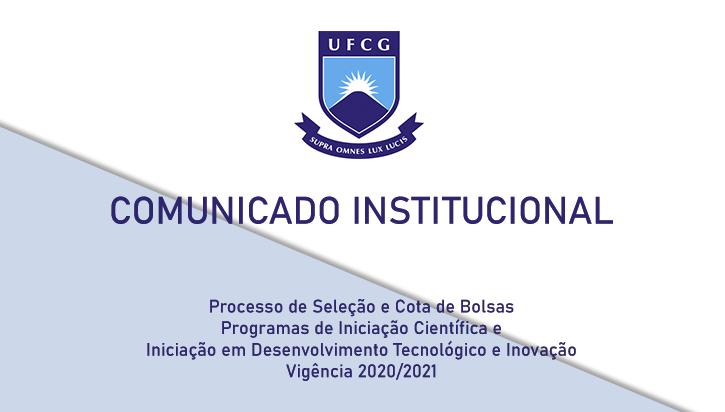 Processo de Seleção e Cota de Bolsas de ICT&I 2020/2021